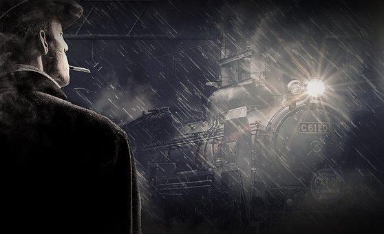 Man, Rain, Snow Rain, Alone, Cigarette, Hat, Silhouette