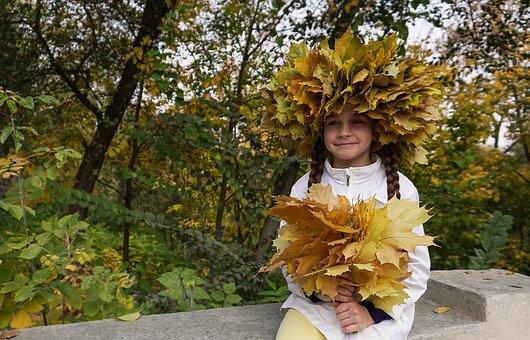 Autumn, Kids, Baby, Childhood, Park, Cute, Smile