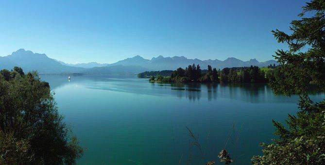Bavaria, Allgäu, Lake, Lake Forggensee, Landscape