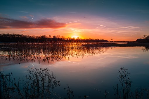 Sunset, River, Elbe, Water, Landscape, Mood, Mirroring