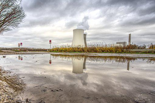 Nuclear Power Plant, Mirroring, Puddle, Cooling Tower