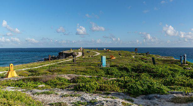Isla Mujeres, Mexico, Cliffs, Statues, Monuments