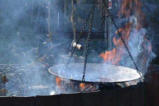 Fire, Smoke, Burn, Flame, Wood, Pan, Center Later