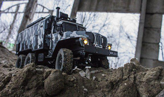 Rc, Radio Controlled, Truck, Camouflage, Rocks