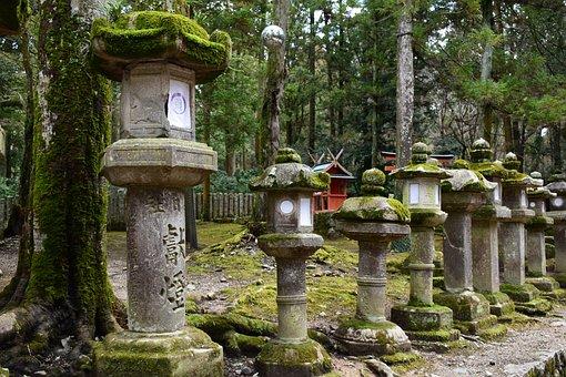 Japan, Nara, Stone Lantern, Moss, Shrine