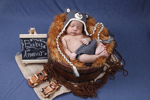 Newborn, Baby, Costume, Sleep, Bear Costume