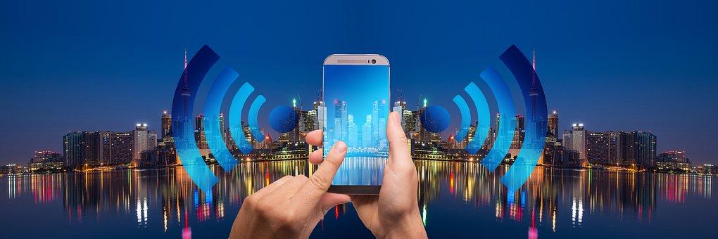 Smart Home, Smarthome, City, Panorama, Smartphone