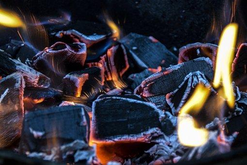 Coal, Fire, Ash, Heat, Cube, Smoldering, Background