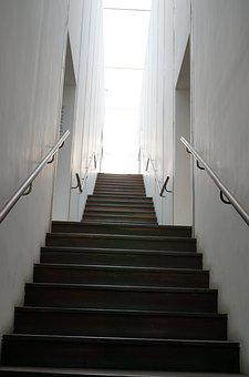 Stairs, Light, White, Architecture, Modern Library