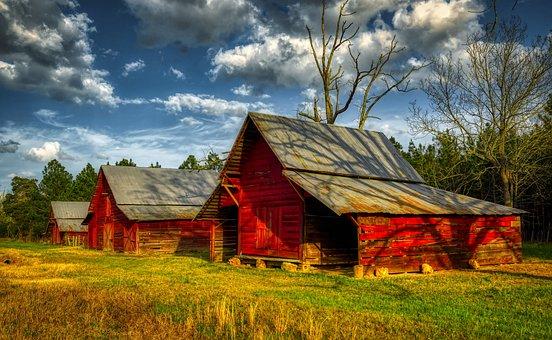 Farm, Georgia, Sky, Clouds, Landscape, Agriculture