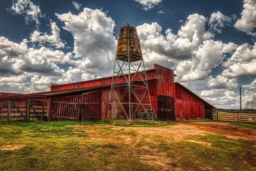 Georgia, America, Farm, Red Barn, Water Tower