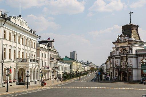 Kazan, City, Avenue, Russia, Architecture, Tatarstan