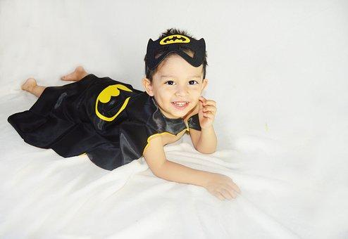 Smile, Kid, Child, Baby, Young, Happy, Batman, Costume