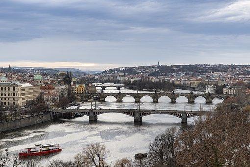 Prague, River, Czech Republic, Bridges