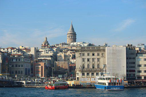 Estuary, Galata, Galata Tower, Marine, Boat, V, Engine
