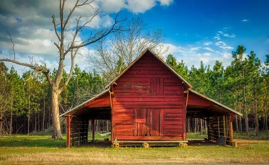 Georgia, America, Farm, Red Barn, Landscape, Scenic