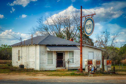 Pure, Gas Station, Old Gas Stations, Landmark, Historic