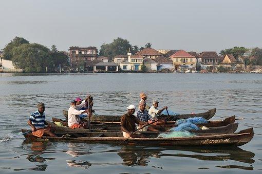Kochi, Cochin, India, Kerala, Asia, Travel, Boat, River