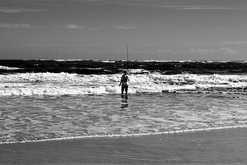 Surf Fisherman, Person, Landscape, Seascape, Rod