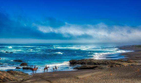 California, Pacific Ocean, Sea, Horseback, Riders