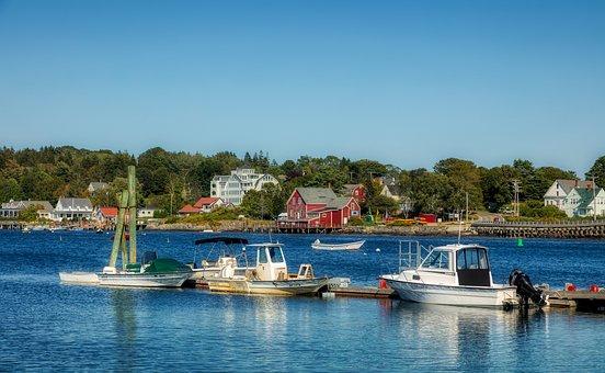 Bailey Island, Maine, Boats, Ships, Sailboats, Bay