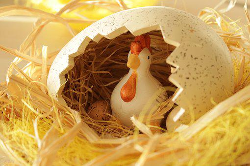 Easter Theme, Easter, Figure, Chicken, Ceramic, Sitting