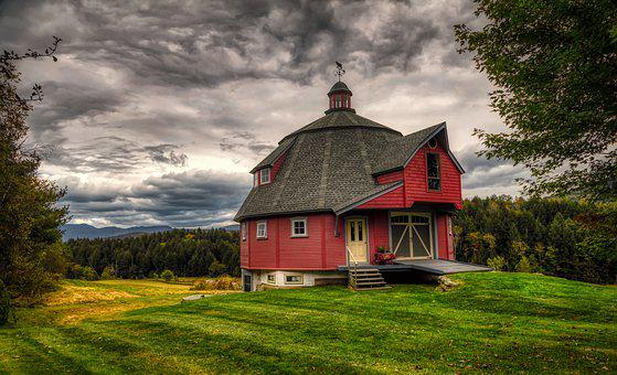 Round Barn, Guesthouse, Sky, Clouds, Dark Skies, Sunset