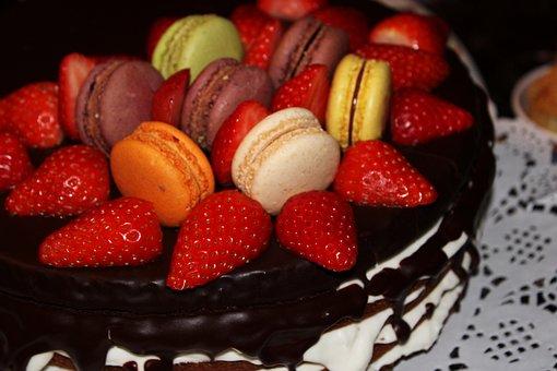 Macarons, Strawberry Cake, Chocolate Icing, Sweet