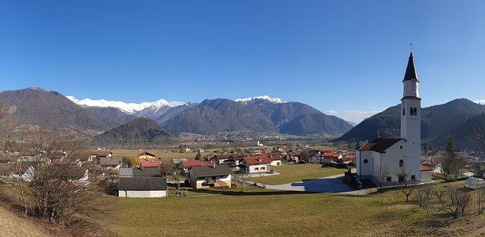 Tolmin, Volce, Church, Hills, Travel, Tourism, Nature