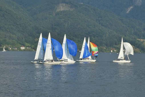 Sailing, Contest, Traunsee, Austria, Sports