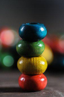 Color, Colorful, Background, Close Up, Beads, Wood