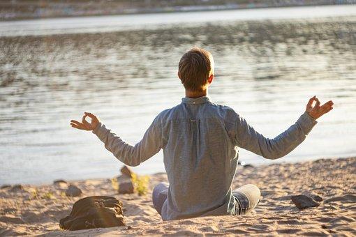 Yoga, Man, Doing, Meditation, Beach, Young, Pose, Male