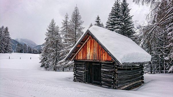 Winter, Snow, Forest, Cold, Austria, Alpine, Hut