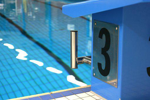 Swimming Pool, Start Block, Blue, Swim