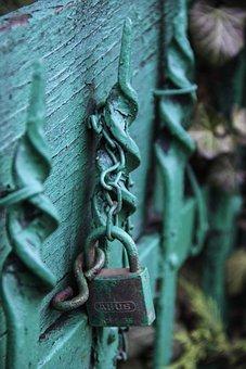Green, Bluish, Lock, Gate, Detail, Closed, Blue, Close
