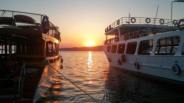 Beach, Solar, Sunset, Boat, Yacht, Coastal, Landscape