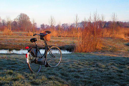 Bicycle, Grandma's Bike, Netherlands, Winter, Landscape