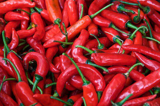 Chili, Red, Market, Ingredient, Healthy, Eat, Fiery