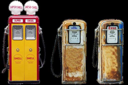Isolated, Pump, Petrol, Shell, Esso Rust, Retro, Diesel