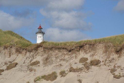 Lighthouse, Denmark, Jutland, North Sea, Dunes, Beach