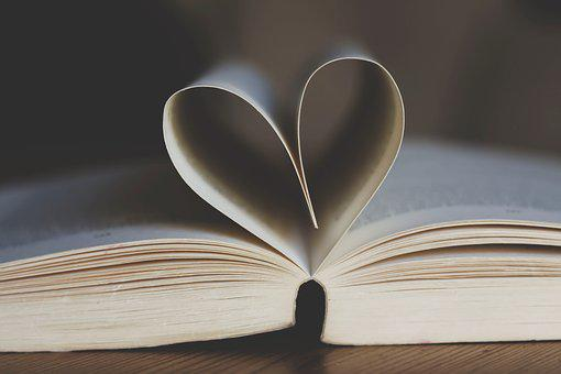 Book, Open, Book Pages, Heart Shape, Heart, Leaves