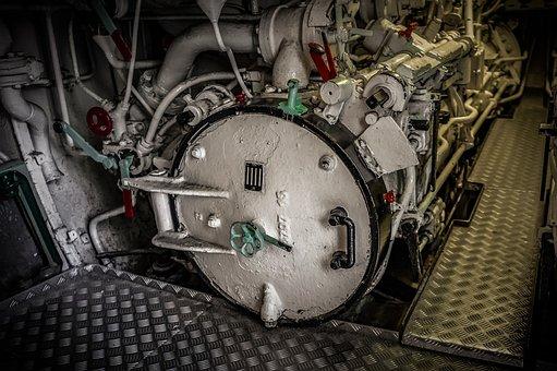 U Boat, Torpedo Tube, Closed, Valves, Lines, Metal, Old