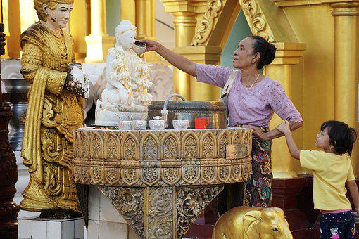 Myanmar, Yangon, Shwedagon Pagoda, Buddha, Buddhism