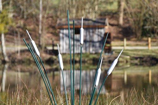 Porcelain, Reed, Water, Cabin, Landscape, Plants, Reeds