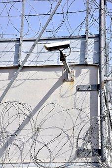 Prison, Barbed Wire, Camera, Monitoring