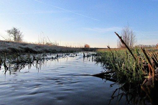 Ditch, Flow, Landscape, Water, Reflection, Nature