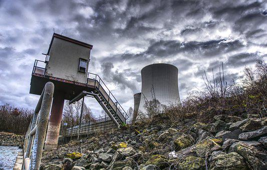 Nuclear Power Plant, Cooling Tower, Rhine, Clouds