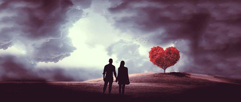 Heart, Tree, Couple, Love, Romance, Lovers, Nature