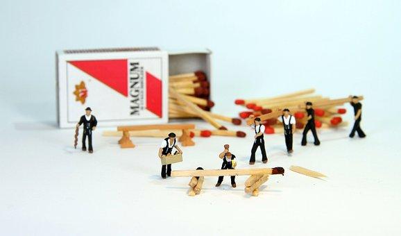 Roofers, Wood, Miniature Figures, Zimmermann, Schreiner