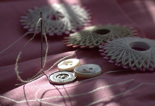 Sew, Yarn, Needle, Button, Hand Labor, Sewing Thread